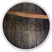 Vintage Bordeaux Wine Barrel Without Its X Round Beach Towel