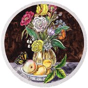 Vintage Bouquet With Fruits And Butterfly  Round Beach Towel