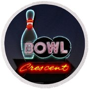 Vintage Bowling Neon Sign Round Beach Towel
