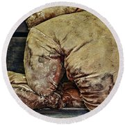 Vintage Boxing Gloves Round Beach Towel