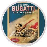 Vintage Bugatti Advert Round Beach Towel