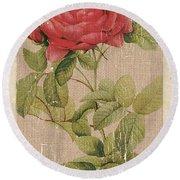 Vintage Burlap Floral Round Beach Towel