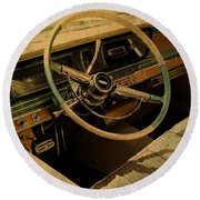 Vintage Cadillac Steering Wheel And Interior Round Beach Towel