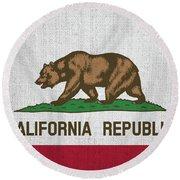 Vintage California Flag Round Beach Towel