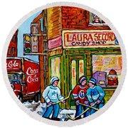 Vintage Candy Store Classic Coca Cola Truck Winter Scene Hockey Art Canadian Art Carole Spandau      Round Beach Towel