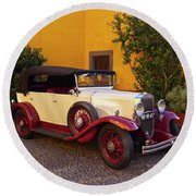Vintage Car In Funchal, Madeira Round Beach Towel