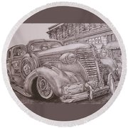 Vintage Car On The Street Round Beach Towel