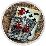 Vintage Cards Dice And Cash Round Beach Towel