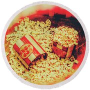 Vintage Carnival Snack Booth Round Beach Towel