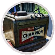 Vintage Champion Spark Plug Cleaner Round Beach Towel