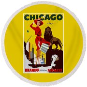 Vintage Chicago Travel Poster Round Beach Towel