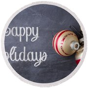 Vintage Christmas Ornaments With Copy Space Round Beach Towel