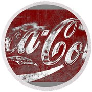 Coca Cola Red And White Sign Gray Border With Transparent Background Round Beach Towel