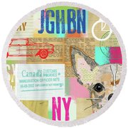 Vintage Collage Chihuahua Round Beach Towel