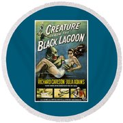 Vintage Creature From The Black Lagoon Poster Round Beach Towel
