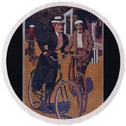 Vintage Cycle Poster March Davis Cycle 100 Dollars Round Beach Towel