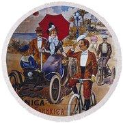Vintage Cycle Poster Prinetti Stucchi Unica Grande Fabbrica Italiana Milano Round Beach Towel
