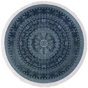 Vintage Denim Mandala Round Beach Towel