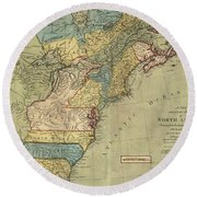 Vintage Discovery Map Of The Americas - 1771 Round Beach Towel