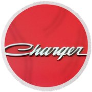 Vintage Dodge Charger Logo Round Beach Towel