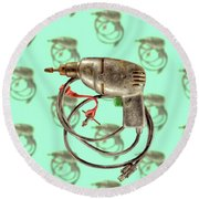 Vintage Drill Motor Green Trigger Pattern Round Beach Towel
