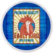 Vintage Early Bird Boiler Mash Feed Bag Round Beach Towel