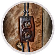 Vintage Electrical Outlet Round Beach Towel