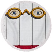 Vintage Eye Sign On Wooden Wall Round Beach Towel