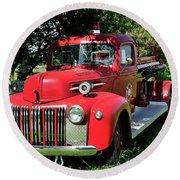 Vintage Fire Truck Round Beach Towel