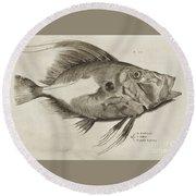 Vintage Fish Print Round Beach Towel
