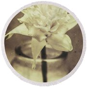 Vintage Floral Still Life Of A Pure White Bloom Round Beach Towel