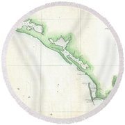Vintage Florida Panhandle Coastal Map - 1852 Round Beach Towel