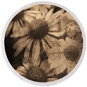 Vintage Flowers Round Beach Towel