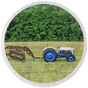 Vintage Ford Blue And White Tractor On A Farm Round Beach Towel
