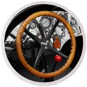 Vintage Ford Racer Dashboard Round Beach Towel