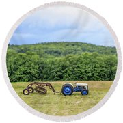 Vintage Ford Tractor Tilt Shift Round Beach Towel
