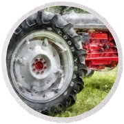 Vintage Ford Tractor Watercolor Round Beach Towel