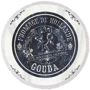 Vintage French Cheese Label 1 Round Beach Towel