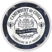 Vintage French Cheese Label 3 Round Beach Towel