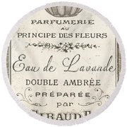 Vintage French Perfume Sign Round Beach Towel
