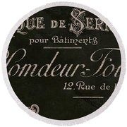 Vintage French Typography Sign Round Beach Towel