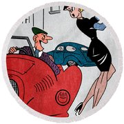 Vintage Funny Joke Retro 1950's Humor Pin Up Girl  Round Beach Towel