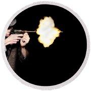 Vintage Gangster Man Shooting Gun On Black Round Beach Towel