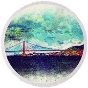 Vintage Golden Gate Round Beach Towel