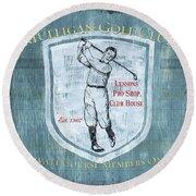 Vintage Golf Blue 1 Round Beach Towel