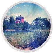 Vintage Great Lakes Lighthouse Round Beach Towel