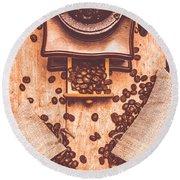 Vintage Grinder With Sacks Of Coffee Beans Round Beach Towel