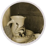 Vintage Grooming Set And Stoneware Water Pitcher In Sepia Tones Round Beach Towel