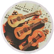 Vintage Guitars On Music Sheet Round Beach Towel