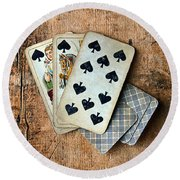 Vintage Hand Of Cards Round Beach Towel